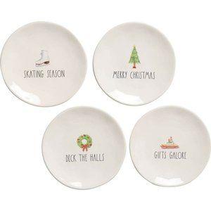 Rae Dunn Skating Holiday Christmas Plates Set of 4